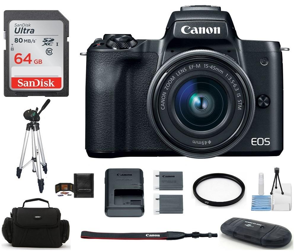 Canon  EOS M50 Mirrorless Digital Camera with 15-45mm Lens (Black) 64GB PRO Bundle