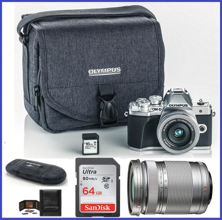 Olympus OM-D E-M10 Mark III (Mark 3) Mirrorless Digital Camera with 14-42mm EZ Lens + M.Zuiko Digital ED 40-150mm f/4.0-5.6 R Lens (Silver) + 80GB SDHC Memory Card + Olympus Camera Case