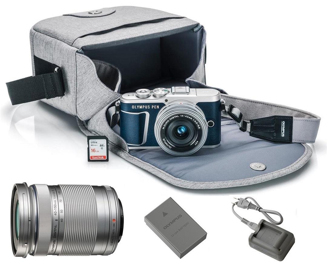 Olympus PEN E-PL9 Mirrorless Micro Four Thirds Digital Camera (Blue) with 14-42mm EZ & M.Zuiko Digital ED 40-150mm f/4-5.6 R Lenses (Silver)