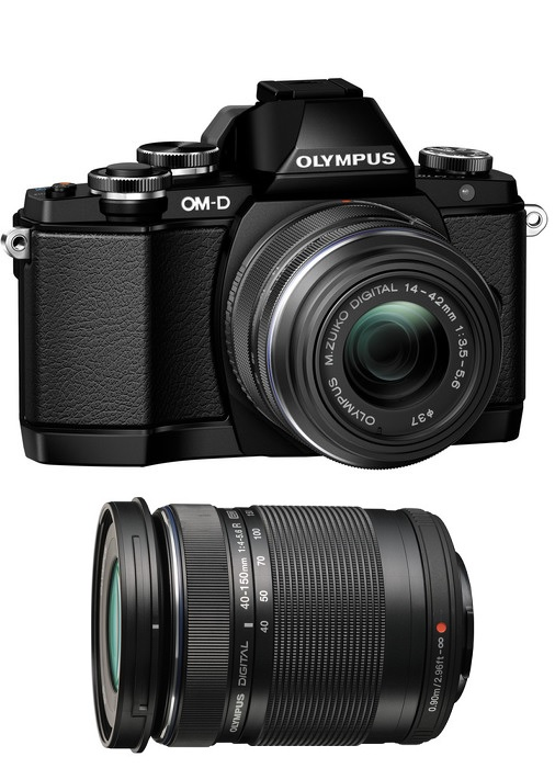Olympus OM-D E-M10 Mark II Mirrorless Micro Four Thirds Digital Camera with 14-42mm f/3.5-5.6 EZ & 40-150mm Lenses (Black)