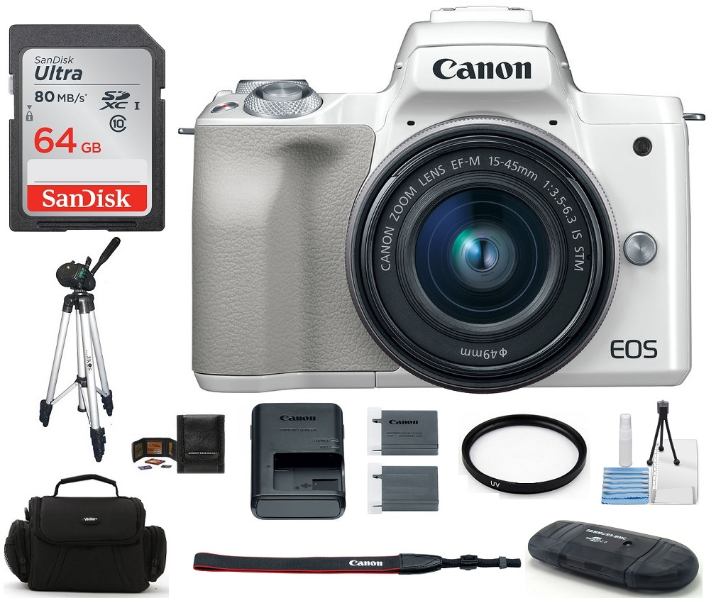 Canon  EOS M50 Mirrorless Digital Camera with 15-45mm Lens (White) 64GB PRO Bundle