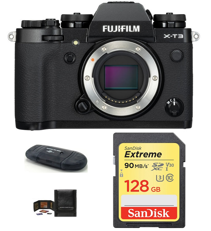 Fujifilm X-T3 Mirrorless Digital Camera Body with Free 128GB Bundle