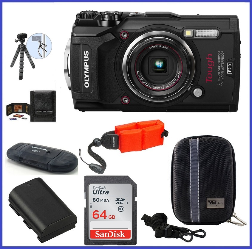 Olympus Tough TG-5 Waterproof Digital Camera (Black) 64GB PRO Bundle