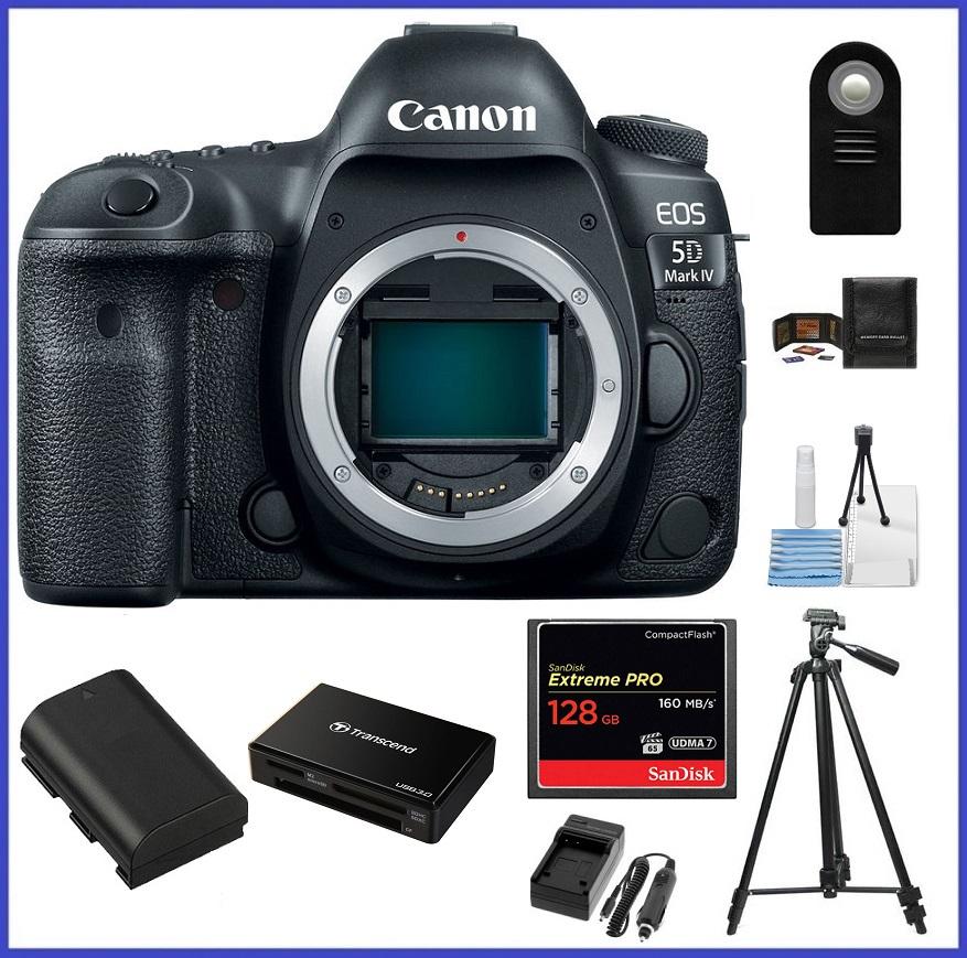 Canon EOS 5D Mark IV DSLR Camera (Body) 128GB Extreme PRO CompactFlash Memory Card Bundle