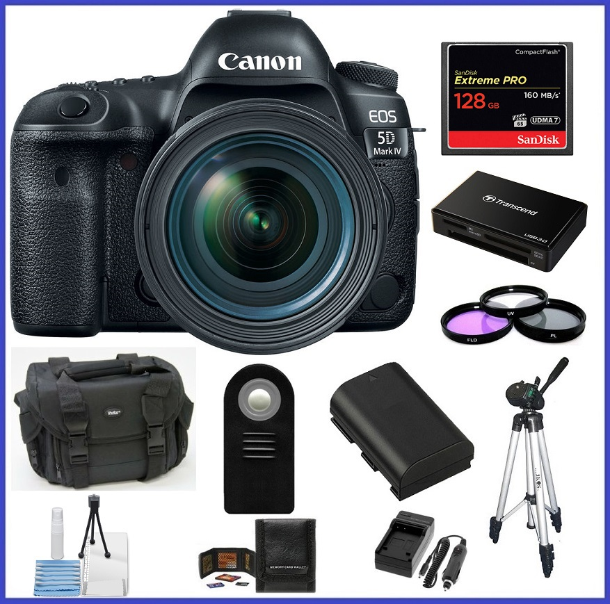 Canon EOS 5D Mark IV DSLR Camera with 24-70mm f/4L Lens 128GB Extreme PRO CompactFlash Memory Card Bundle