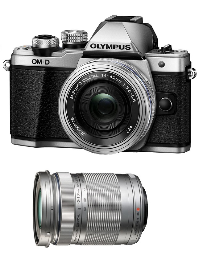 Olympus OM-D E-M10 Mark II Mirrorless Micro Four Thirds Digital Camera with 14-42mm f/3.5-5.6 II R & 40-150mm Lenses (Silver)