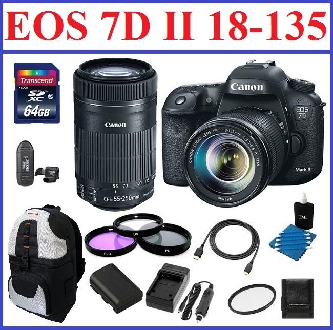 Canon EOS 7D Mark II DSLR Camera with 18-135mm Lens & Canon EF-S 55-250mm f/4-5.6 IS STM Lens Bonus Kit
