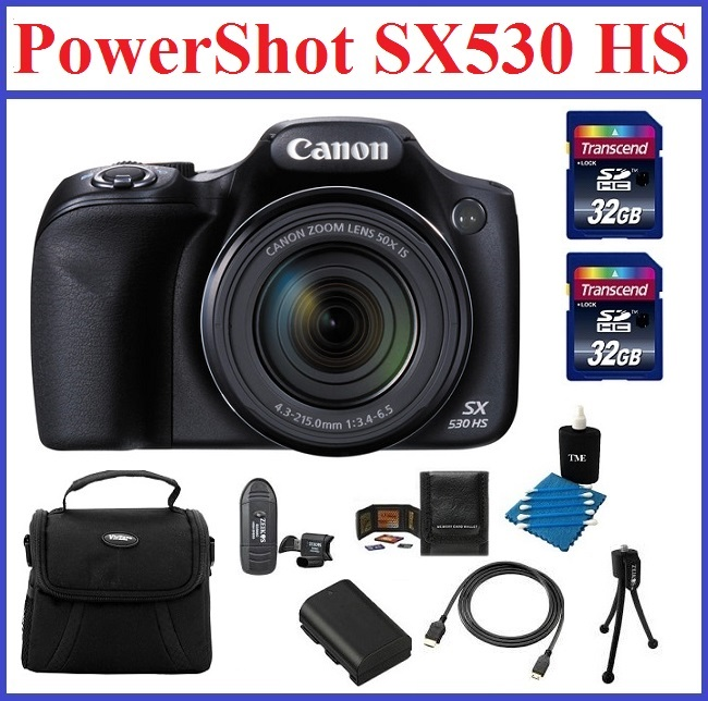Canon Powershot SX530 HS 16.0 MP Digital Camera with 50x Optical Zoom and 1080p Full HD Video Bundle Kit