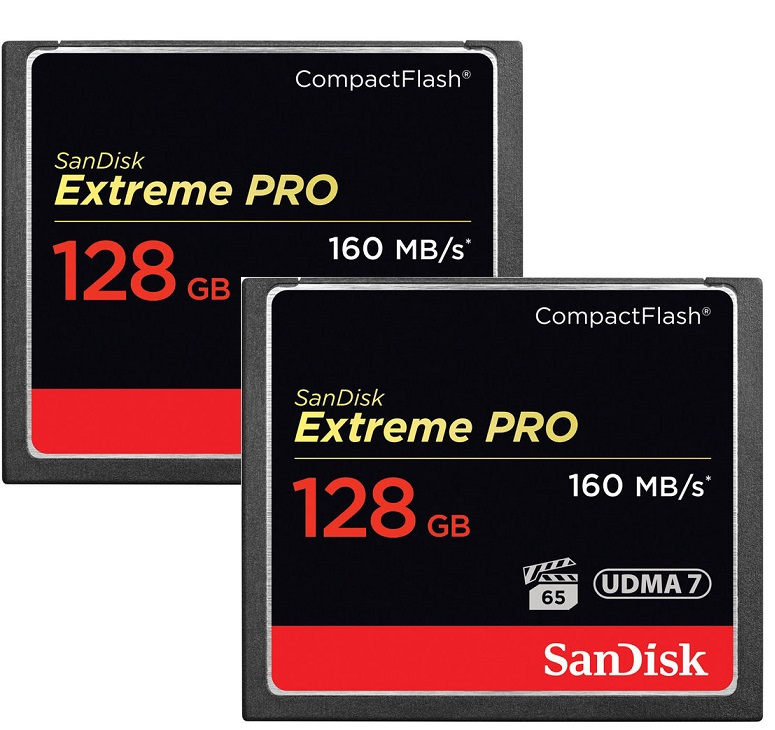 SanDisk 128GB Extreme Pro CompactFlash Memory Card - 160MB/s (2-Pack)