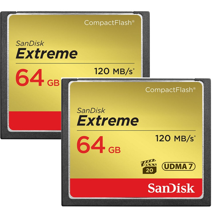 SanDisk 64GB Extreme CompactFlash Memory Card - 120MB/s (2-Pack)