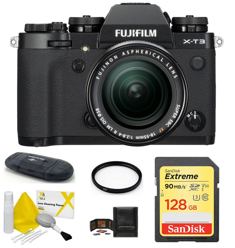 Fujifilm X-T3 Mirrorless Digital Camera with XF 18-55mm f/2.8-4 R LM OIS Zoom Lens 128GB Bundle