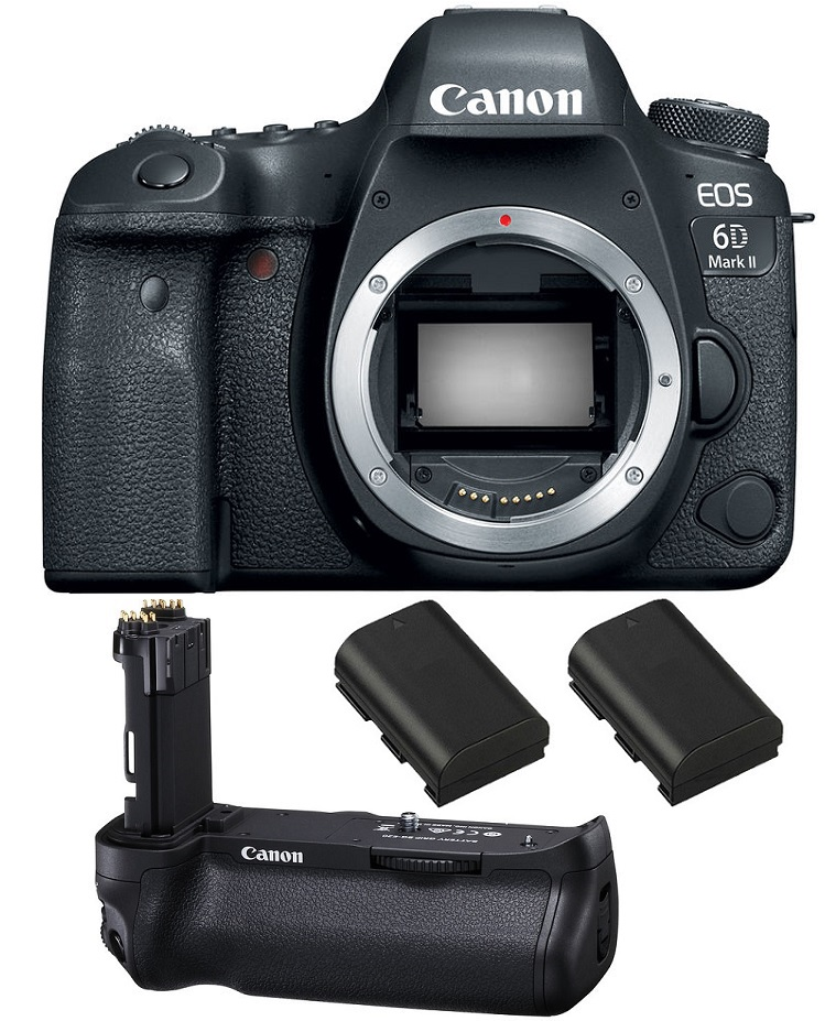 Canon EOS 6D Mark II DSLR Camera + Canon BG-E21 Battery Grip + Two Spare Batteries