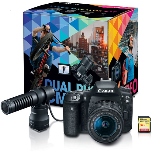 Canon EOS 90D DSLR Camera with EF-S 18-55mm f/3.5-5.6 IS STM Lens Video Creator Kit