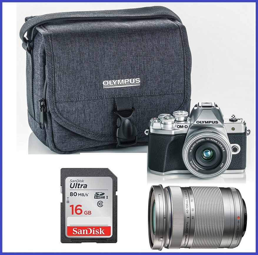 Olympus OM-D E-M10 Mark III Mirrorless Micro Four Thirds Digital Camera (Body) + M.Zuiko Digital ED 14-42mm f/3.5-5.6 EZ Lens (Silver) + M.Zuiko Digital ED 40-150mm f/4.0-5.6 R Lens (Silver)