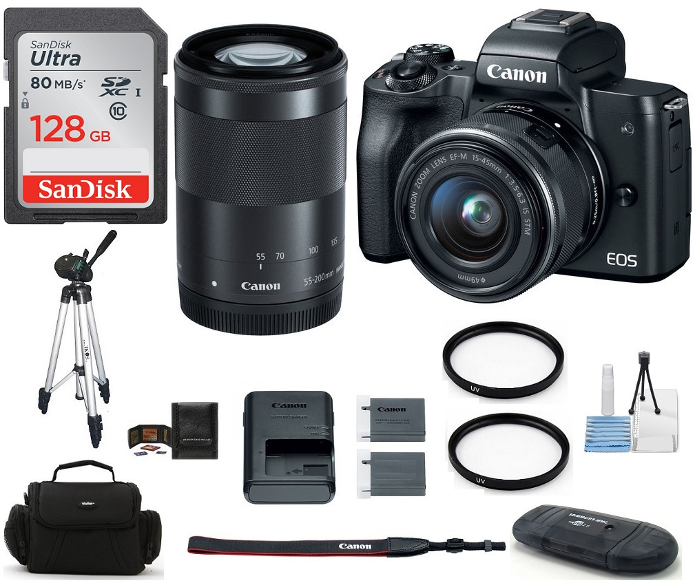 Canon  EOS M50 Mirrorless Digital Camera with 15-45mm and 55-200mm Lenses (Black) Bundle