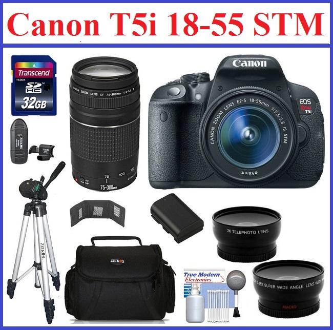 Canon EOS Rebel T5i DSLR Camera with 18-55mm STM IS & 75-300mm III EF Lenses Ultimate Bonus Kit
