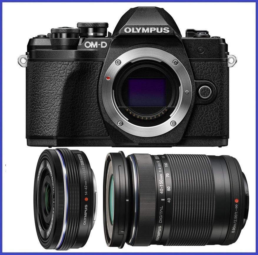 Olympus OM-D E-M10 Mark III Mirrorless Micro Four Thirds Digital Camera (Body) + M.Zuiko Digital ED 14-42mm f/3.5-5.6 EZ Lens (Black) + M.Zuiko Digital ED 40-150mm f/4.0-5.6 R Lens (Black)