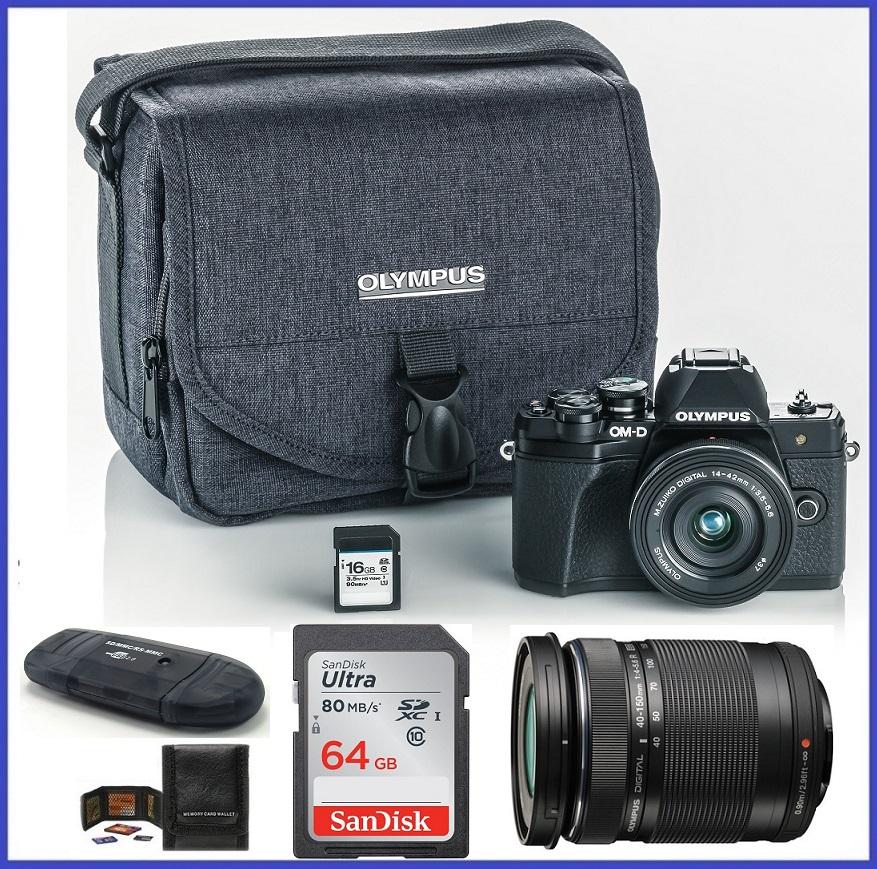 Olympus OM-D E-M10 Mark III (Mark 3) Mirrorless Digital Camera with 14-42mm EZ Lens + M.Zuiko Digital ED 40-150mm f/4.0-5.6 R Lens (Black) + 60GB SDHC Memory Card + Olympus Camera Case