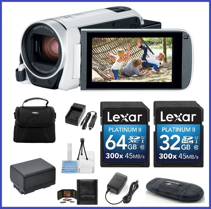 Canon VIXIA HF R800 HD Camcorder (White) 96GB Travel Bundle