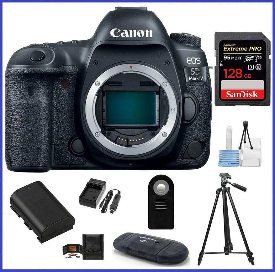 Canon EOS 5D Mark IV DSLR Camera (Body) 128GB SDXC Extreme PRO Memory Card Bundle