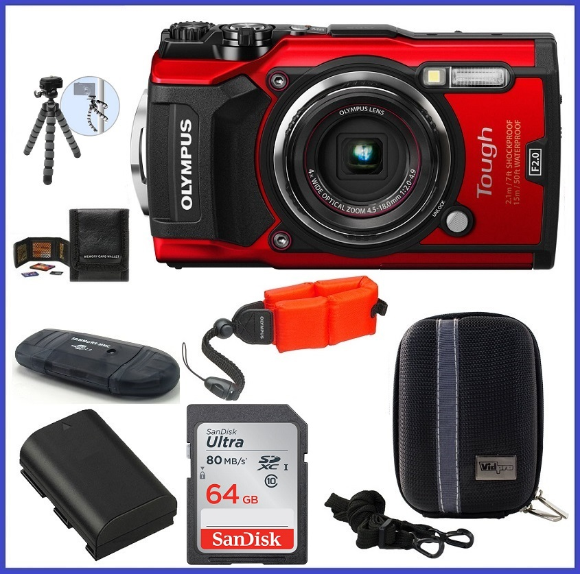 Olympus Tough TG-5 Waterproof Digital Camera (Red) 64GB PRO Bundle