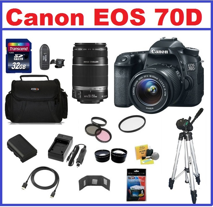 Canon EOS 70D DSLR Camera with 18-55mm STM IS & 75-300mm III EF Lenses Pro Pack Kit