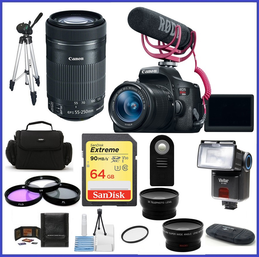 Canon EOS Rebel T6i DSLR Camera with 18-55mm Lens Video Creator & 55-250mm IS STM Lens 64GB PRO Bundle